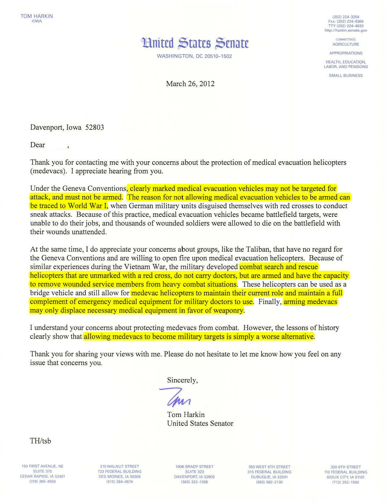 Constituent Letter Example