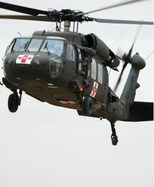 UH60 Airborne showing front and side